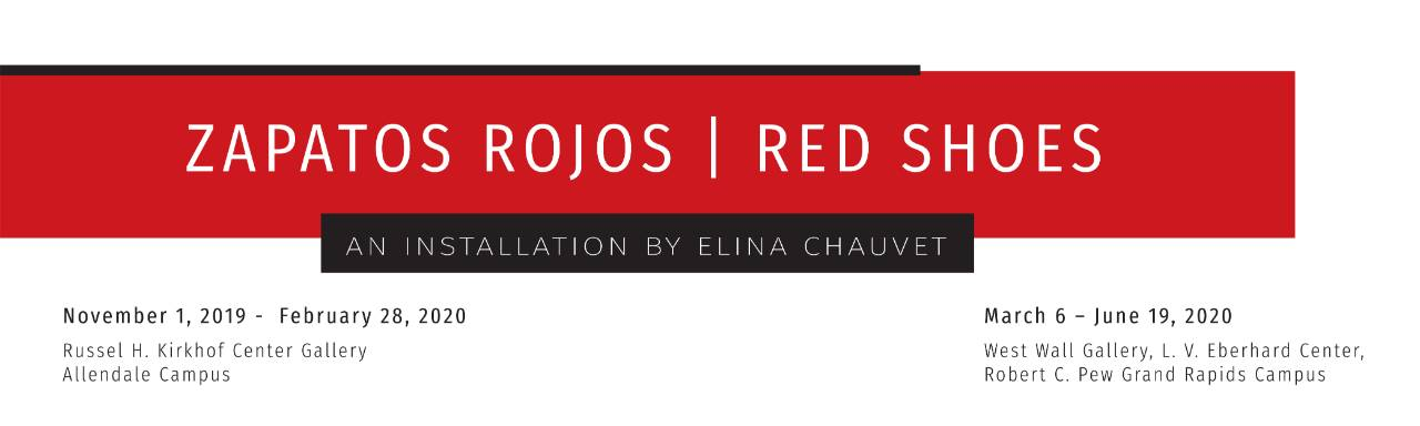 "white background with red bar across that reads ""zapatos rojos / red shoes"""